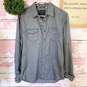Guess Men's Long Sleeve Button Down Shirt Medium